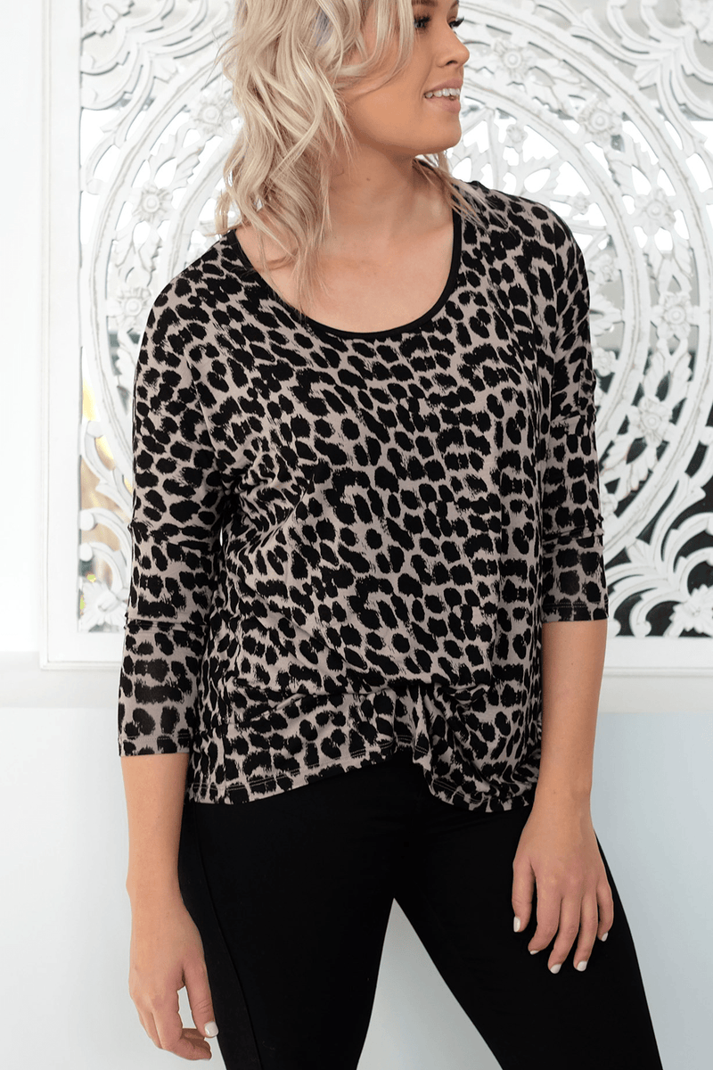 Milan 3/4 Sleeve Top Leopard Betty Basics - Jean Jail