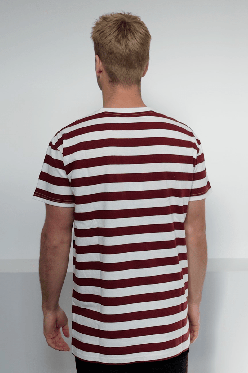 Cabin Stripe Custom Fit Tee Burgundy White Stripe