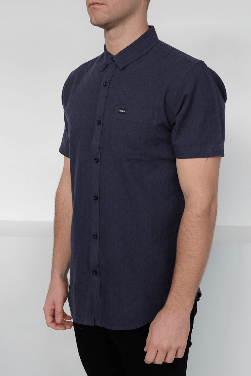 Affirmed II Short Sleeve Shirt Indigo RVCA - Jean Jail