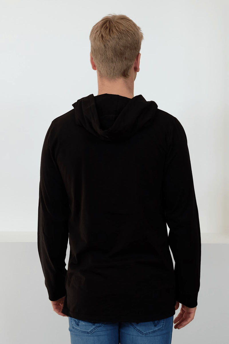 Caged Accent Long Sleeve Hooded Tee Black