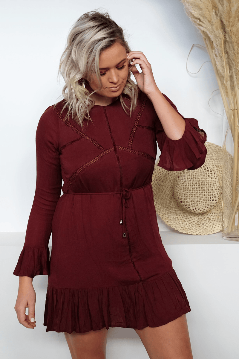 All Loved Up Dress Burgundy