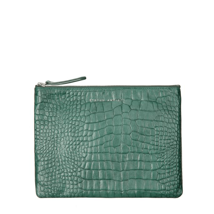 Fake It Clutch Teal Croc Emboss Status Anxiety - Jean Jail