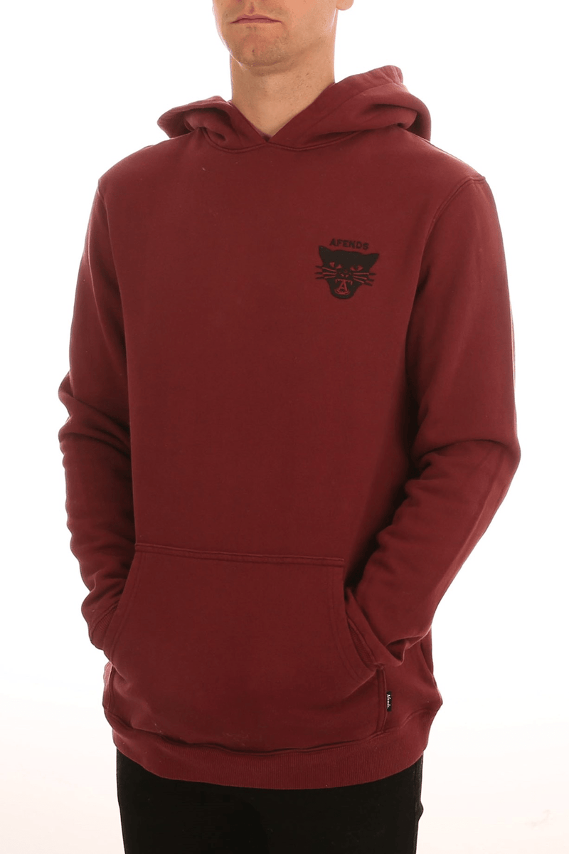 Emblem Pull On Hood Maroon Afends - Jean Jail