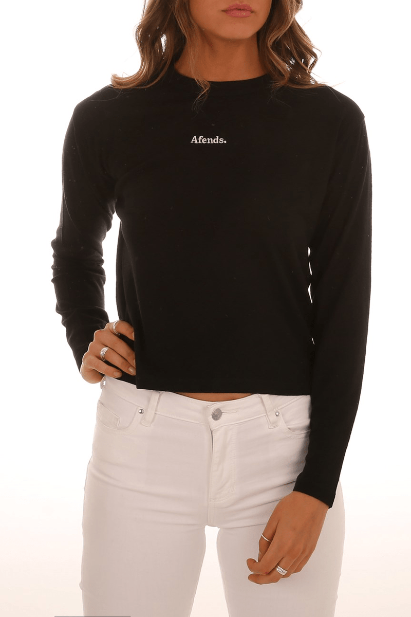 Rhodes Hemp Long Sleeve Tee Black Afends - Jean Jail