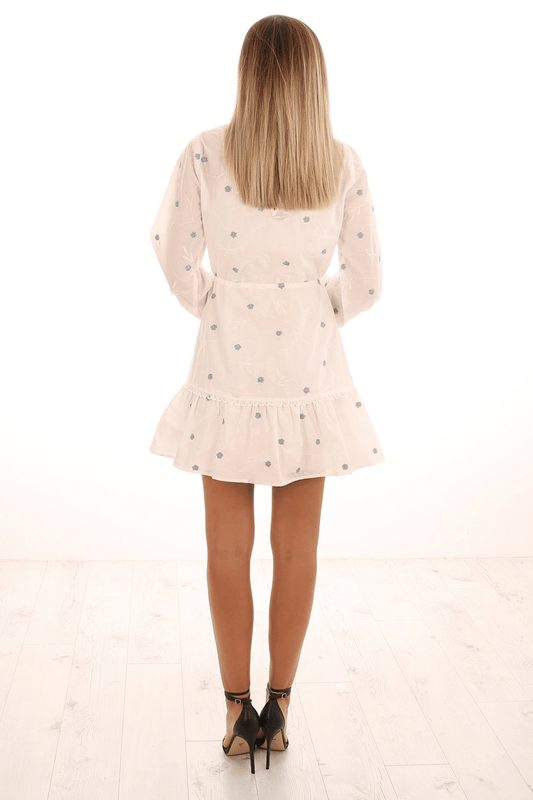 Delirium Mini Dress Off White Stone Blue