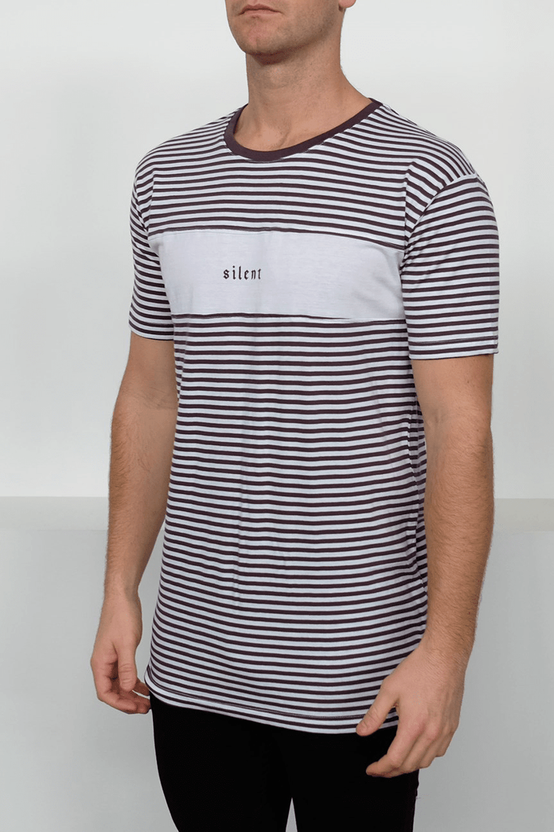 Nautical Stripe Tee Charcoal Silent Theory - Jean Jail