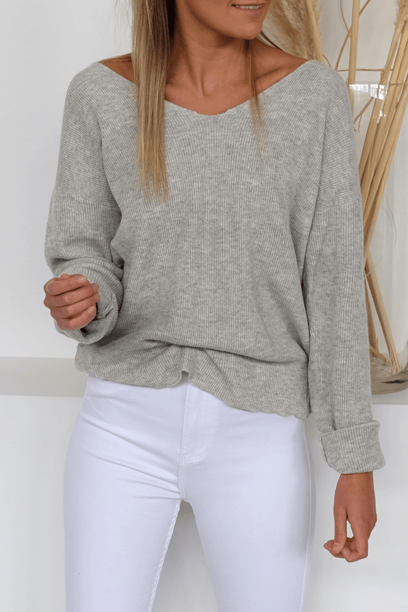 Alexa Twist Knit Grey