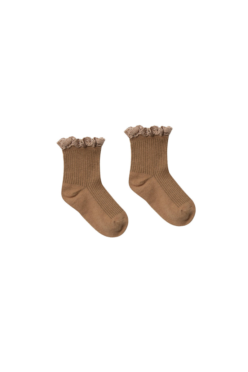 Lace Trim Sock Bronze