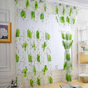 1 PC Window Curtain Vines Leaves Tulle Door Window Curtain Drape Panel Sheer Scarf Valances Modern High quality Voile Curtain - King City Treasures
