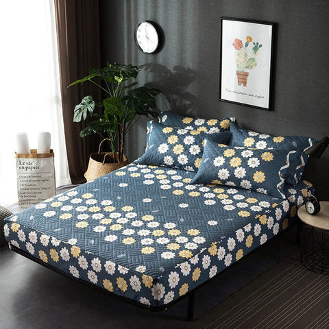 Country Style Quilted Fitted Sheet Mattress Cover