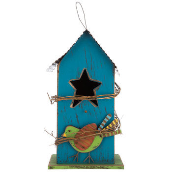 Blue Wood Birdhouse with Bird & Metal Roof - King City Treasures