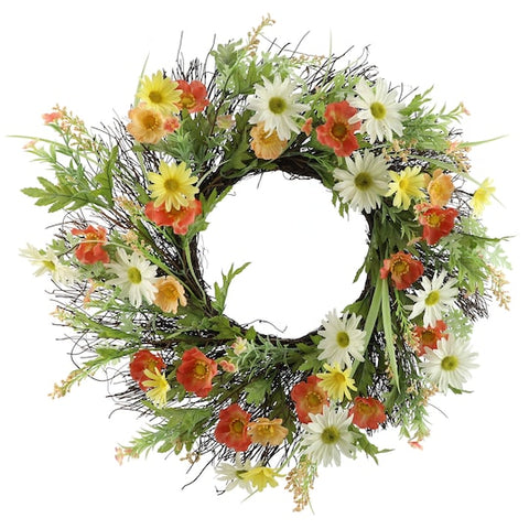 "22"" Yellow, Coral & White Daisy Mix Wreath - King City Treasures"