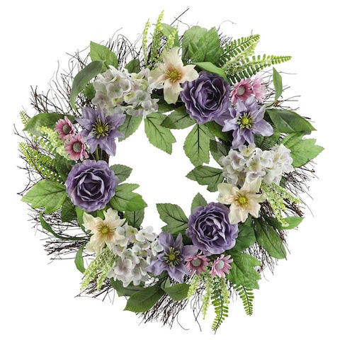 "22"" Light Purple Ranunculus & Hydrangea Wreath - King City Treasures"
