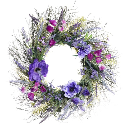 "20"" Purple Wild Flowers Mix Wreath - King City Treasures"