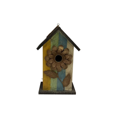 Multicolored Birdhouse With Flower Tabletop Accent