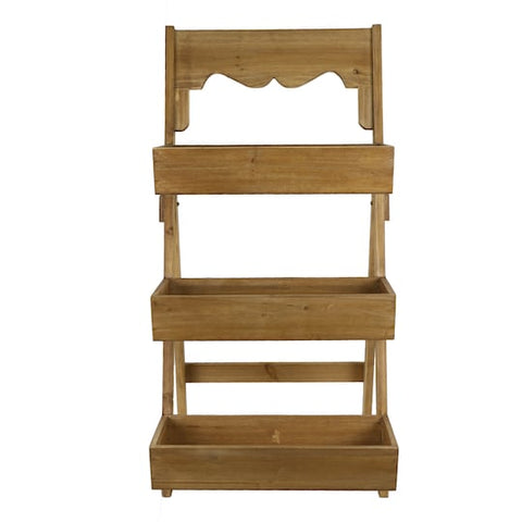 Natural Wood Planter Rack