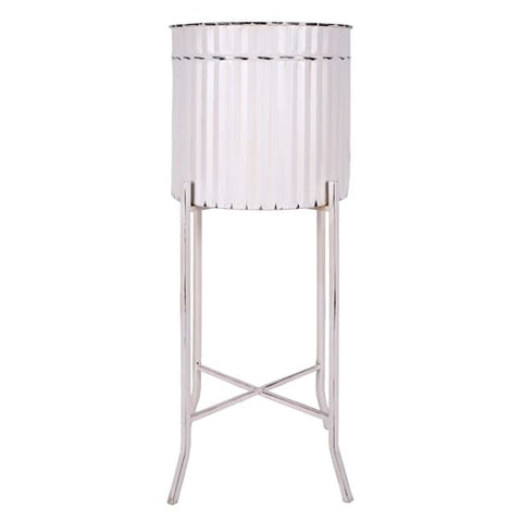 White Metal Container with Stand