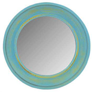 Blue Round Wood Wall Mirror