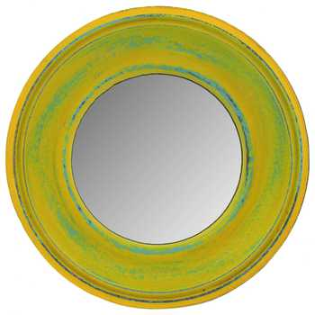 Yellow Round Wood Wall Mirror