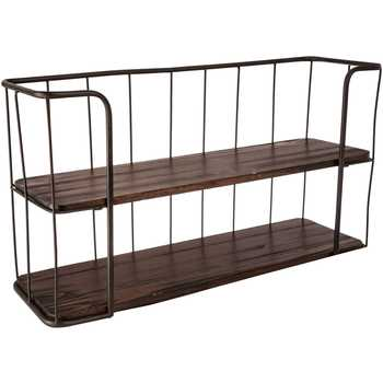 Brown Wood & Metal Double Shelf - King City Treasures