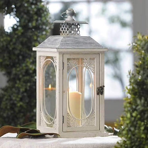 Antiqued Cream Lantern - King City Treasures