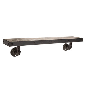 Industrial Distressed Brown Wood Shelf