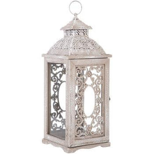 Whitewash Scroll Wood Lantern
