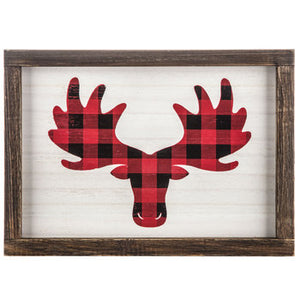 Moose Buffalo Check Wood Wall Decor