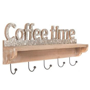 Coffee Time Wood Wall Shelf With Hooks - King City Treasures