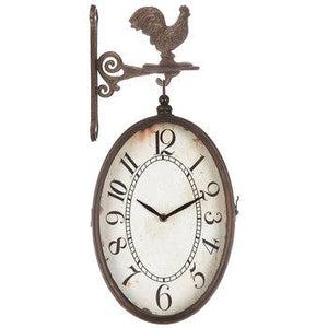 Oval Clock With Rooster Hook