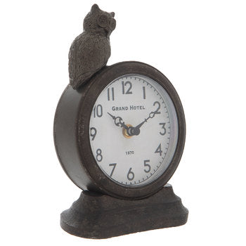 Pewter Clock With Sitting Owl