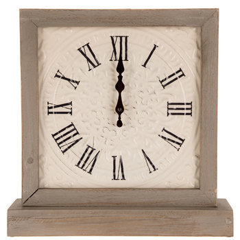 White & Gray Embossed Metal Square Clock
