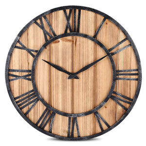 European Style Wooden Metal Non-ticking Quartz Wall Clock