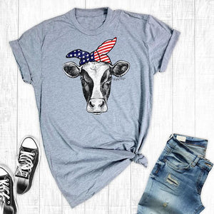 Funny July 4th Cow Womens t-Shirts Short Sleeved Farm Shirts Summer Cotton Graphic Tops&Tee Independence Day Women's Tshirt
