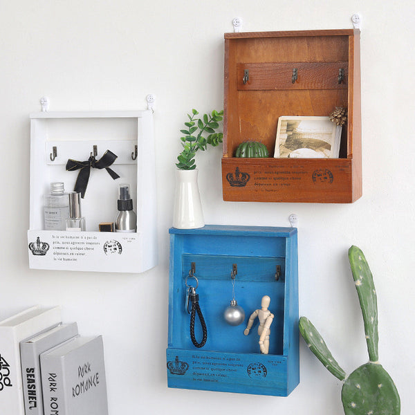Vintage Wood Shelf with Hooks