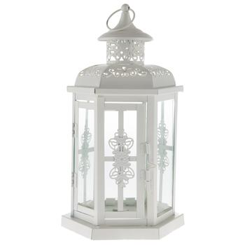White Metal Lantern with Handle