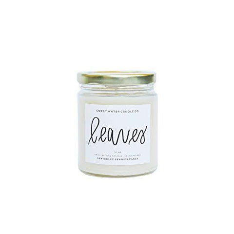 Leaves Candle Natural Soy Wax Candle | Apples Red Berries Oranges Cinnamon Nectar Fall Scent Gluten Lead Free Handmade American Grown French Country Rustic Farmhouse Decor Bathroom Accessories
