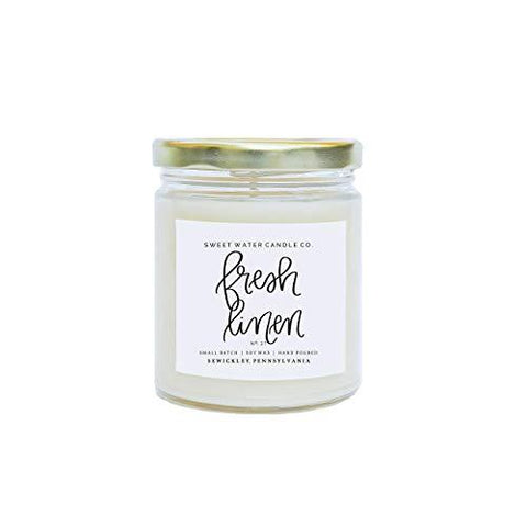 Fresh Linen Natural Soy Wax Candle | Apple Lime Lemon Lavender Cotton Lily Musk Cedarwood Essential Oils Clean Laundry Scent Gluten Phthalate Lead Free Made in USA Bathroom Accessory Housewarming Gift