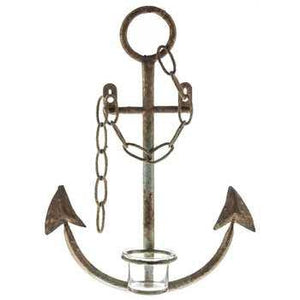 Rustic Light Blue Metal Anchor Wall Sconce