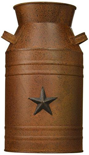 Craft Outlet Milk Can Container with Star Attached, 10.5-Inch, Rust - King City Treasures
