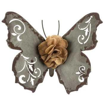 Blue Butterfly Metal Wall Decor with Cloth Center - King City Treasures