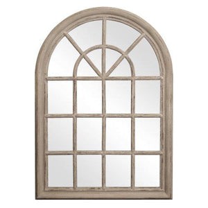 Howard Elliott Fenetre Windowpane Style Mirror, 29 x 41-Inch, Distressed Taupe Lacquer