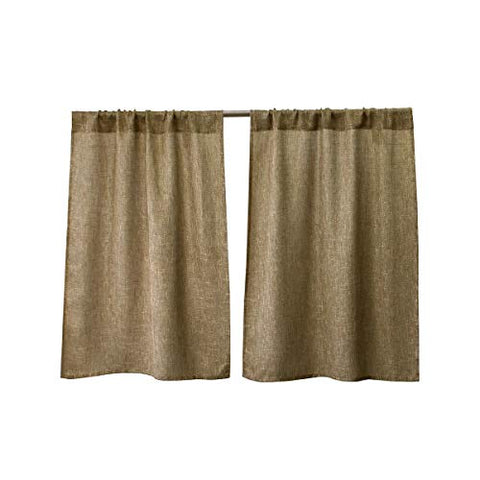 Valea Home Burlap Tier Curtains for Kitchen Rustic Tan Rod Pocket Curtains for Short Window 36 inch Linen Cafe Curtains