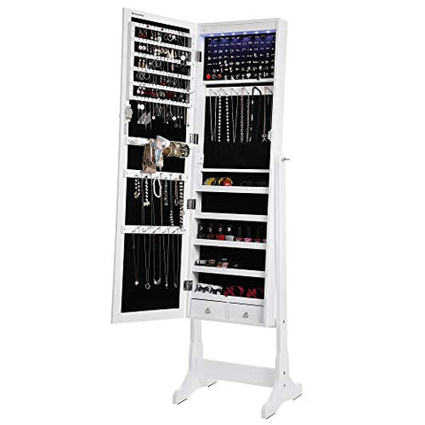 LED Lockable Standing Jewelry Armoire