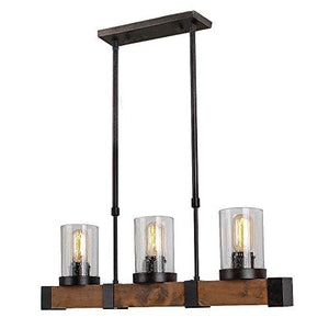 Anmytek Metal Wood and Glass Chandelier Pendant Light Retro Rustic Loft Antique Lamp Edison Vintage Pipe Sconce Decorative Light Fixtures and Ceiling Light Luminaire (Three Lights) - King City Treasures