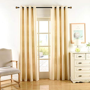 Valea Home Window Curtains Linen Textured Curtain Panels Drapes with Grommet for Bedroom and Living Room Window Treatment, 52W x 95L Inch, Beige, 1 Panel