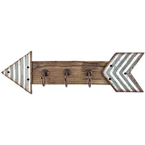 Rustic Galvanized Metal & Wood Arrow Triple Hook Wall Decor / Home Decoration