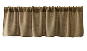 Valea Home Burlap Natural Tan Valance Rod Pocket Window Curtain Valance Rustic Home Décor 56 by 14 Inches