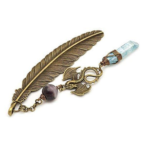 Aura quartz amethyst gemstone point dragon and feather bronze metal unique bookmark gift - King City Treasures