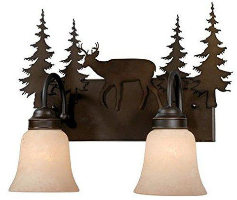 Vaxcel USA VL55402BBZ Bryce 2 Light Rustic Bathroom Vanity Lighting Fixture in Bronze, Glass
